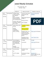 suggested weekly schedule week 8
