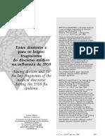 BERTUCCI, L. M. Entre doutores e para leigos fragmentos do discurso médico na influenza de 1918