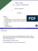 Lecture 1 Basic Matlab