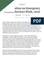 2020 Presidential EMS Week Proclamation