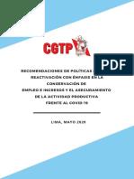 RECOMENDACIONES DE POLÍTICAS SOBRE LA REACTIVACIÓN CON ÉNFASIS EN LA CONSERVACIÓN DE EMPLEO E INGRESOS Y EL ASEGURAMIENTO DE LA ACTIVIDAD PRODUCTIVA FRENTE AL COVID-19