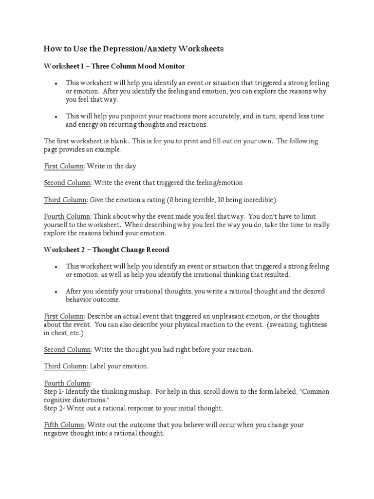 Thoughts And Mood Worksheets Emotions Self Improvement