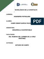 ESTUDIO DE CAMPO Y EVIDENCIAS DEL DESARROLLO SUSTENTABLE TABASCO
