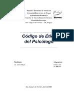El código de ética  del psicólogo referente a las distintas áreas del ejercicio profesional terapia psicológica, docencia y actividades Forenses.  Carlig Leon.pdf