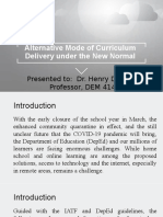 Alternative Mode of Curriculum Delivery under the New Normal