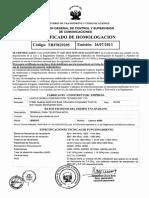 EJEMPLO DE CERTIFICADO DE HOMOLOGACION