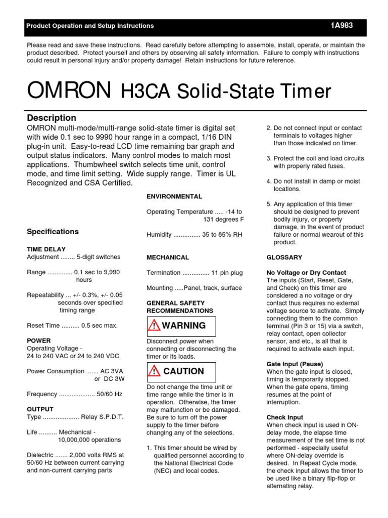 H3CA Timer Setup Instructions | Relay | Timer on