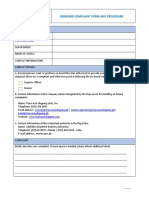 Onboard complaint form