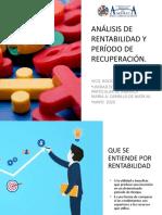 ANÁLISIS DE RENTABILIDAD Y PERÍODO DE RECUPERACIÓN