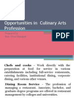 Opportunities in Culinary Arts Profession