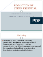 INTRODUCTION OF MARKETING  ESSENTIAL