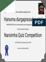 """Certificate for Hanuma durgaprasad mataji for """"Narsimha Quiz Competition"""""""