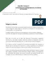 Guía 4 Anexo C  Literatura de Colonia e independiencia de COLOMBIA APRENDE 8° para lectura adicional