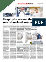 Respiradores Con Válvulas No Protegen a Las Demás Personas