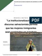 """Entrevista a Sara Farris """"La institucionalización del discurso salvacionista permite que las mujeres inmigrantes sean explotadas en el trabajo de cuidados"""" En Revista Viento Sur nº 166"""