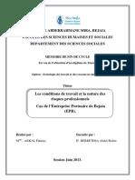 Les Conditions de Travail Et La Nature Des Risques Professionnels Cas de l Entreprise Portuaire de Bejaia (EPB).