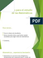 Consejos para el estudio de las Matemáticas