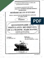 Questionnaire Aux Postulants Des Brevets de La Marine Marchande