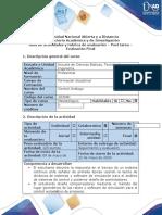 Guía de actividades y rúbrica de evaluación - Post tarea - Evaluación final