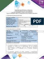 Guía de actividades y rúbrica de evaluación - Tarea 5-Reflexión sobre la importancia de la Gestión Educativa.