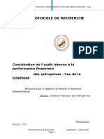 Protocole de recherche CONTRIBUTION DE L'AUDIT INTERNE A LA PERFORMANCE FINANCIERE
