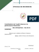Protocole de recherche CONTRIBUTION DE L'AUDIT INTERNE A LA PERFORMANCE FINANCIERE