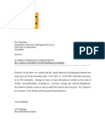 Specimen of Internship Letter