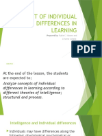 CONCEPT OF INDIVIDUAL DIFFERENCES IN LEARNING
