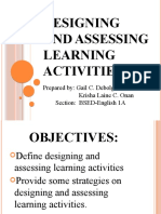 Diversity in Designing and Assessing Learning Activities