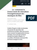 Le Monde - Comment La France Tente de Relocaliser l'Enregistrement Des Musiques de Film