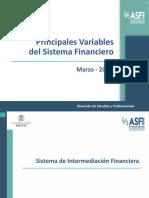 PRINCIPALES VARIABLES DEL SISTEMA FINANCIERO ASFI