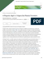 Filogenia Algal e a Origem das Plantas Terrestres _ Fisiologia vegetal