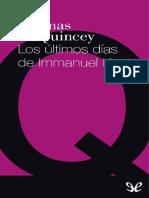 Thomas De Quincey - Los últimos días de Immanuel Kant