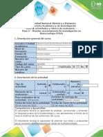 Guía de actividades y rubrica de evaluación - Paso 5 - Diseñar una propuesta de investigación en Biotecnología (POA)