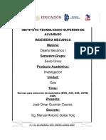 Normas para selección de materiales (DGN, AISI, SAE, ASTM, ASM).