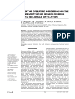 8. effect of operating conditions on the concentration of monglyceridos using molecular destillation