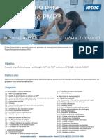 Calendário de aulas para formação PMP