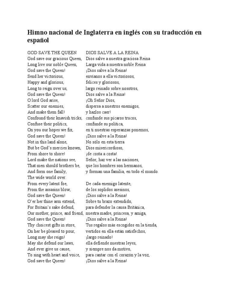 Himno Nacional De Inglaterra En Inglés Con Su Traducción En Español