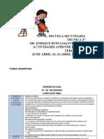 ACTIVIDADES APRENDO EN CASA TERCER AÑO 20-24 ABRIL  2020