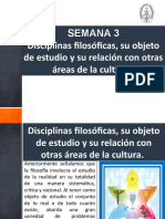 DISCIPLINAS FILOSÓFICAS, SU OBJETO DE ESTUDIO Y SU RELACIÓN CON OTRAS ÁREAS DE LA CULTURA