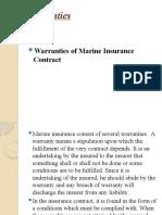 Warranties of Marine Insurance Contracts