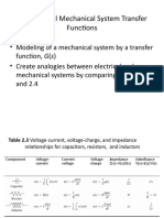 Translational Mechanical System Transfer Functions