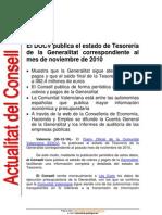 El DOCV publica el estado de Tesorería  de la Generalitat correspondiente al  mes de noviembre de 2010