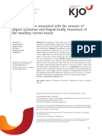Changes in force associated with the amount of aligner activation and lingual bodily movement of the maxillary central incisor