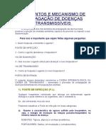 ELEMENTOS E MECANISMO DE PROPAGAÇÃO DE DOENÇAS TRANSMISSÍVEIS