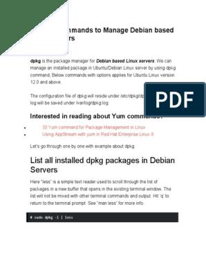 List all installed dpkg packages in Debian Servers | Linux | Sudo