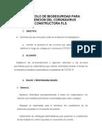 PROTOCOLO DE BIOSEGURIDAD PARA PREVENCION DEL CORONAVIRUS
