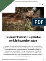 le marché et la production du caoutchouc naturel
