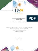 Formato para la elaboración de la actividad 3 - Observación de prácticas para el desarrollo del lenguaje en contextos de educació - modificado