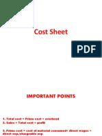 Cost sheet  2nd class  -